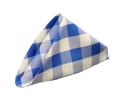 20 inch Polyester Cloth Napkins Checkered Royal Blue (Pack of 10)