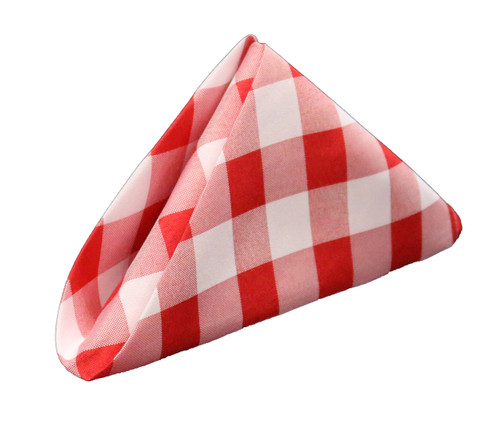 20 inch Polyester Cloth Napkins Checkered Red (Pack of 10)