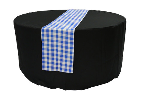14 x 108 inch Polyester Table Runner Checkered Royal Blue On Table
