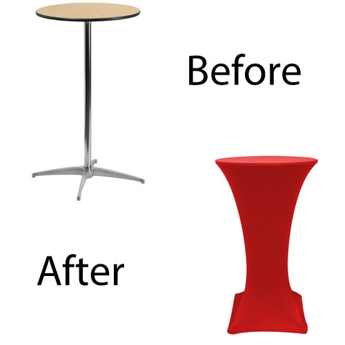 24 inch Highboy Cocktail Round Stretch Spandex Table Cover Red for Events, Parties, Weddings