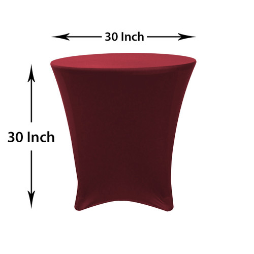 30 x 30 inch Lowboy Cocktail Round Stretch Spandex Table Cover Burgundy, Wholesale