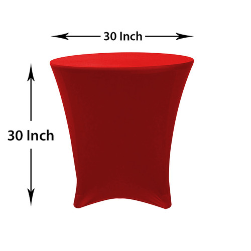 30 x 30 inch Lowboy Cocktail Round Stretch Spandex Table Cover Red, Wholesale