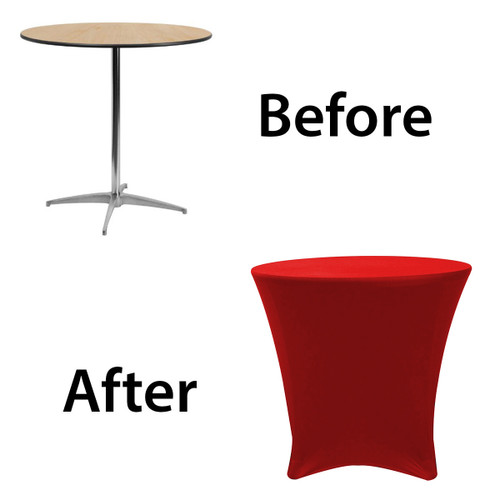 30 x 30 inch Lowboy Cocktail Round Stretch Spandex Table Cover Red for Events, Parties, Weddings