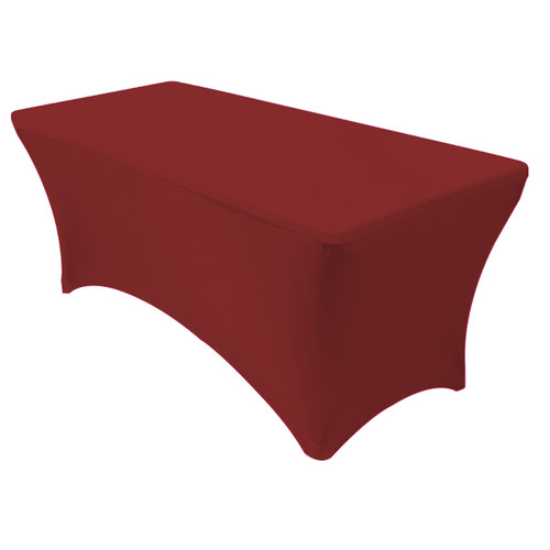 Stretch Spandex 6 Ft Rectangular Table Cover Burgundy