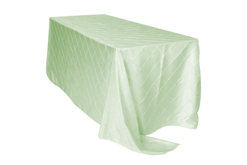 90 x 132 inch Pintuck Taffeta Rectangular Tablecloth Mint Ivory (CLEARANCE)