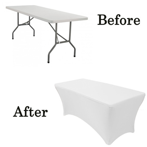 Stretch Spandex 5 ft Rectangular Table Cover White before after