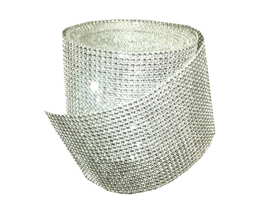 4.5 in x 10 yd Rhinestone Diamond Wrap Mesh Roll Silver