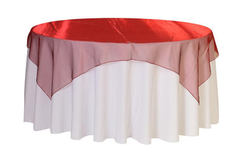 72 inch Square Organza Table Overlay Burgundy