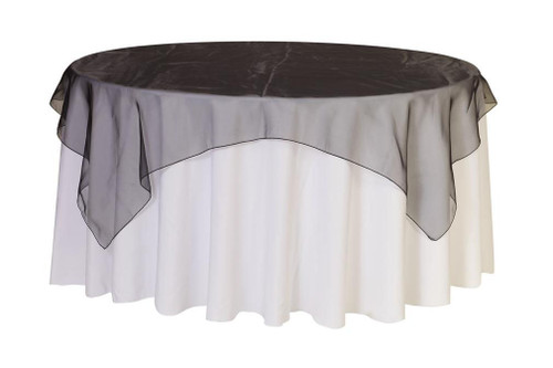 72 inch Square Organza Table Overlay Black