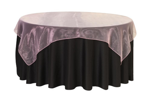 72 inch Square Organza Table Overlay Pink