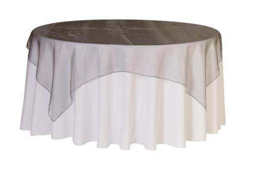 90 Inch Square Organza Table Overlay Dark Silver