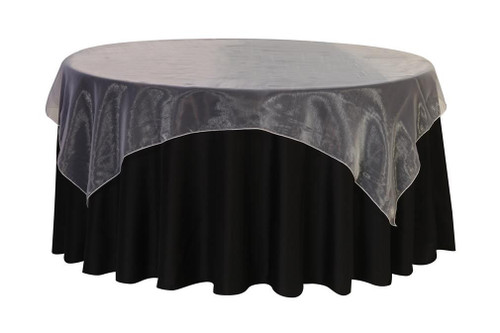 90 Inch Square Organza Table Overlay White