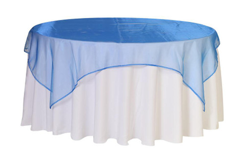 90 Inch Square Organza Table Overlay Royal Blue