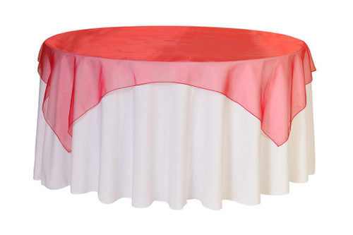 90 Inch Square Organza Table Overlay Red