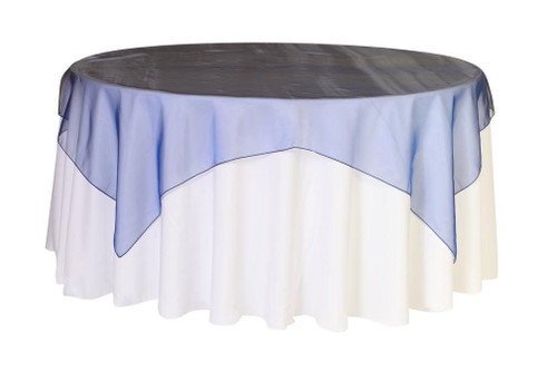 90 Inch Square Organza Table Overlay Navy Blue