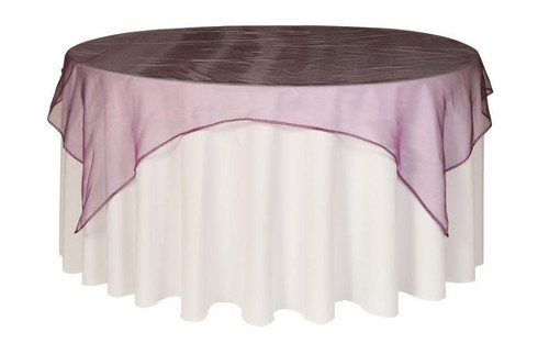 90 Inch Square Organza Table Overlay Eggplant