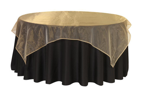 90 Inch Square Organza Table Overlay Gold