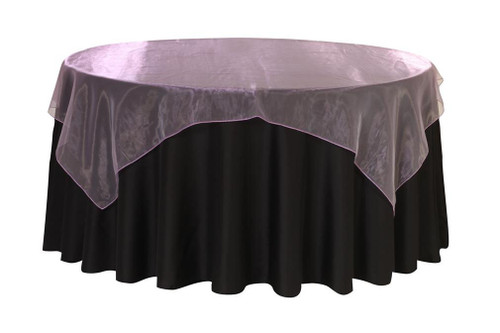 90 Inch Square Organza Table Overlay Lavender