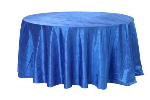120 Inch Pintuck Taffeta Round Tablecloths Royal Blue