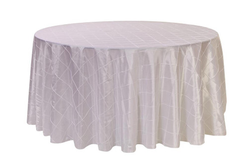 120 Inch Pintuck Taffeta Round Tablecloth White