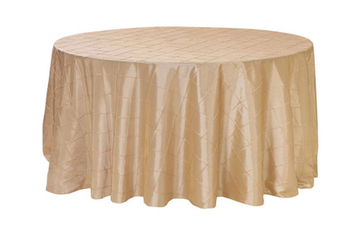 120 Inch Pintuck Taffeta Round Tablecloths Champagne