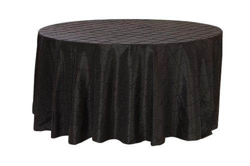 120 Inch Pintuck Taffeta Round Tablecloth Black
