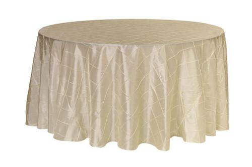 120 inch Pintuck Taffeta Round Tablecloth Ivory