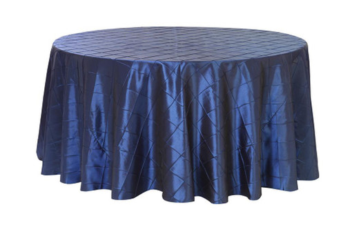 132 Inch Pintuck Taffeta Round Tablecloth Navy Blue
