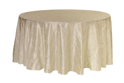 132 inch Pintuck Taffeta Round Tablecloths Ivory