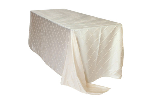 90 x 132 inch Pintuck Taffeta Rectangular Tablecloth Ivory