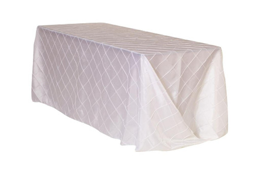 90 x 132 inch Pintuck Taffeta Rectangular Tablecloth White