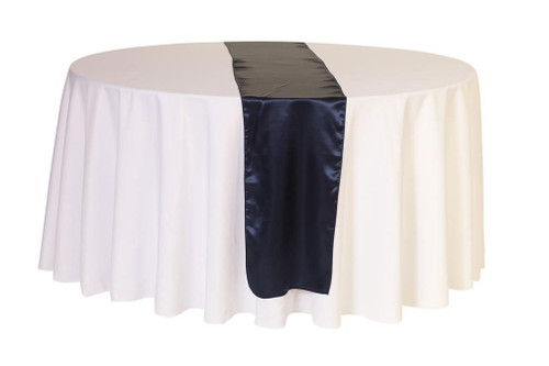 14 x 108 inch Satin Table Runner Navy Blue