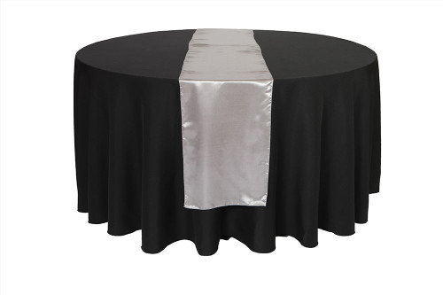 14 x 108 inch Satin Table Runner Dark Silver / Platinum
