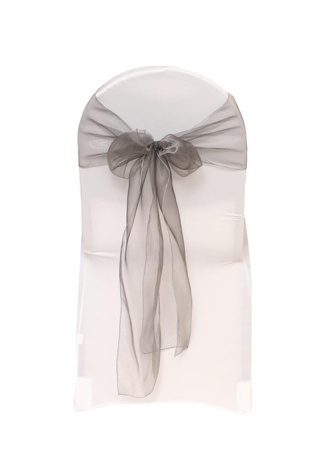 Organza Sashes Dark Silver (Pack of 10)
