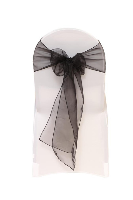 Organza Sashes Black (Pack of 10)