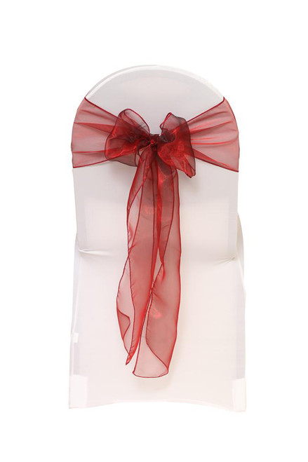 Organza Sashes Burgundy (Pack of 10)