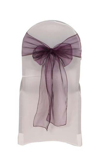 Organza Sashes Eggplant (Pack of 10)