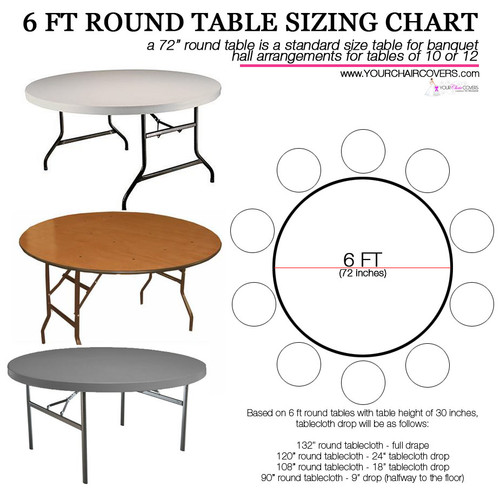 How to Buy Black Satin Tablecloths for 6 ft Round Tables? Use this Tablecloth Sizing Guide, a quick and easy printable table cloth sizing chart. 120 inch round table linens will fully drape a 5 ft round table or 60 inch . Check the image for your other table cover measurement options.