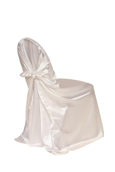 Satin Self-Tie Universal Chair Cover White