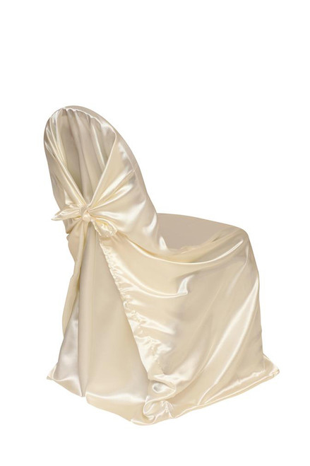 Satin Self-Tie Universal Chair Cover Ivory
