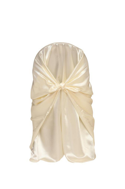 Wholesale Satin Self-Tie Universal Chair Covers Ivory