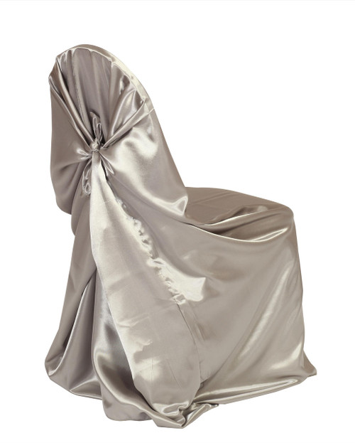 Satin Self-Tie Universal Chair Cover Dark Silver / Platinum