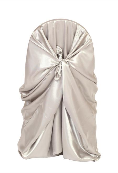 Satin Self Tie Universal Chair Cover Dark Silver