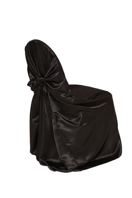 Satin Self-Tie Universal Chair Covers Black