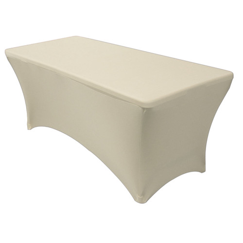 Stretch Spandex 6 Ft Rectangular Table Cover Ivory