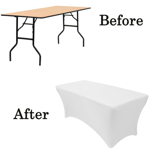 white wood folding table covers
