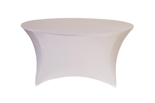 Stretch Spandex 6 ft Round Table Cover White