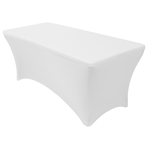 Stretch Spandex 8 ft Rectangular Table Cover White