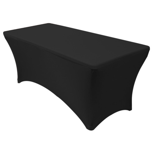 Stretch Spandex 8 ft Rectangular Table Cover Black