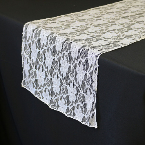 14 x 108 inch Lace Table Runners White